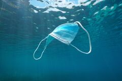 Free Surgical Face Mask Underwater Pollution In Ocean Stock Photos - 187545853