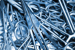 Surgical Instruments. Surgical metal Instruments. Macro photo Stock Images