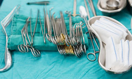 Surgical instruments for lung surgery Royalty Free Stock Image
