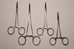 Surgical instruments in traumatology. Operation, treatment of bone fracture in traumatology, plate, surgery, trauma, osteosintesis, locking plate stock photos