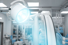 Surgical lamp light in modern advanced operating Hall Stock Image
