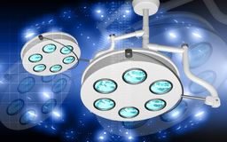 Surgical lamps. Digital illustration of  two surgical lamps in operation room Stock Image