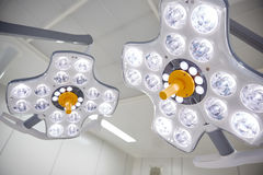 Surgical lamps in operation room at hospital Stock Photography
