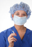 Surgical Nurse Smoking Stock Photo