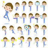 Surgical operation blue wear women_2. Set of various poses of surgical operation blue wear women_2 Stock Photos