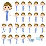 Surgical operation blue wear women_1. Set of various poses of surgical operation blue wear women_1 Stock Photo
