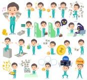 Surgical operation green wear men_money. Set of various poses of surgical operation green wear men_money Royalty Free Stock Image