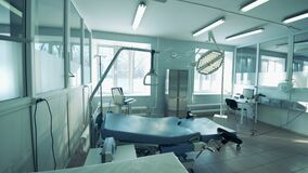 Surgical room with medical devices.