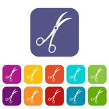 Surgical scissors icons set flat Stock Images