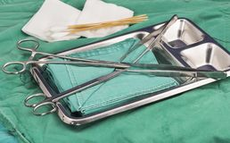 suture instruments in the opertion room royalty free stock photography