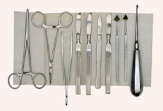 Surgical tool. Medical surgical tool made in the last century stock photos