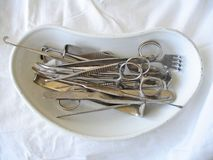 Surgical tools. Preoperative still life on white Stock Images