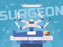 Surgicl robot performs surgery on a man vector illustration
