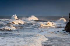 Surging Waves onto Tynemouth Pier Royalty Free Stock Photos