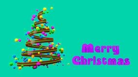 Surgir Feliz Navidad y el árbol de navidad colorido abstracto creciente artístico con la animación creativa stock de ilustración