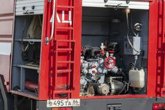 Fire truck with equipment. stock image