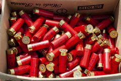 Hunting cartridges are red in the box. stock images