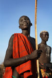 Suri cattle herder in South Omo, Ethiopia Royalty Free Stock Images