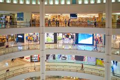 Suria KLCC shopping mall. KUALA LUMPUR, MALAYSIA - APRIL 23, 2014: inside Suria KLCC shopping mall. Suria KLCC shopping centre is a six-storey building at the Royalty Free Stock Photo