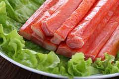 Surimi crab stick and green vegetables Royalty Free Stock Image