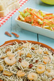 Surimi elvers with prawns, garlic and pepper Stock Images