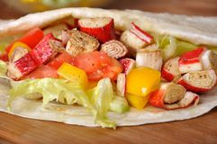Surimi kebab with vegetable Royalty Free Stock Image