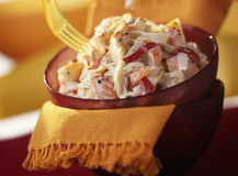 Surimi and potato salad. Food, gastronomy, cooking,cookery stock photos