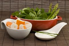 Surimi and salad Stock Photography