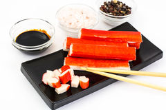 Surimi and soy sauce Stock Photos