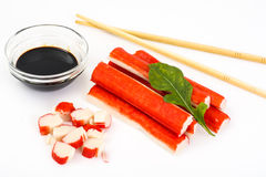 Surimi and soy sauce Stock Photography