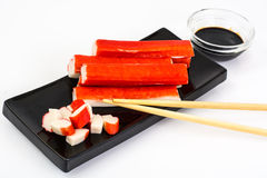Surimi and soy sauce Stock Photo