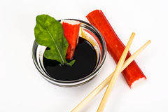 Surimi and soy sauce Royalty Free Stock Image