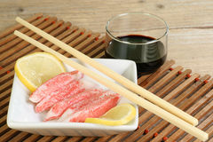 Surimi sticks and soy sauce Royalty Free Stock Image
