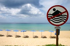 Surin beach phuket. No swimming warning sign surin beach phuket Stock Images