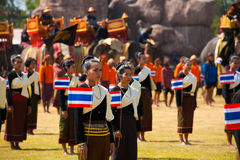 Surin Thai Dancers Flags Elephants Royalty Free Stock Photos