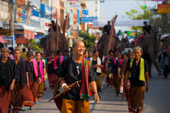 Surin Village Elder Leading Parade Group Stock Photos