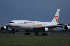 Surinam Airways jet doing taxi in Amsterdam Airport Schiphol AMS. Netherlands royalty free stock photography