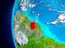 Surinam auf Erde vom Raum Lizenzfreie Stockbilder