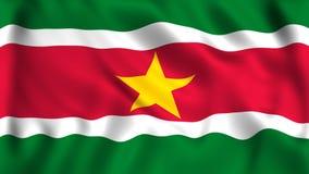 Surinam flagga som vinkar i vindsymbolet royaltyfri illustrationer
