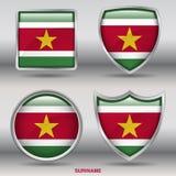 Surinam-Flagge in der Sammlung mit 4 Formen mit Beschneidungspfad Stockfotos
