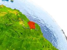 Surinam im roten Modell von Erde Stockfoto