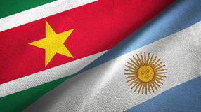 Suriname and Argentina two flags textile cloth, fabric texture. Suriname and Argentina flags together textile cloth, fabric texture stock illustration