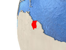 Suriname on 3D globe. Map of Suriname on globe with watery blue oceans and landmass with visible country borders. 3D illustration Royalty Free Stock Photography