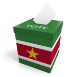 Suriname election ballot box for collecting votes. Rendered in 3D on a white background Stock Image