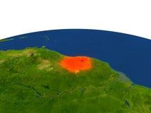 Suriname en rojo de la órbita stock de ilustración