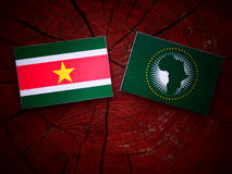 Suriname flag with African Union flag on a tree stump  Stock Photo