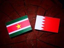 Suriname flag with Bahraini flag on a tree stump  Royalty Free Stock Photo
