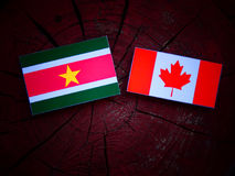 Suriname flag with Canadian flag on a tree stump isolated Royalty Free Stock Images