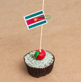 Suriname flag on cupcake Stock Image