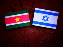 Suriname flag with Israeli flag on a tree stump  Royalty Free Stock Photo